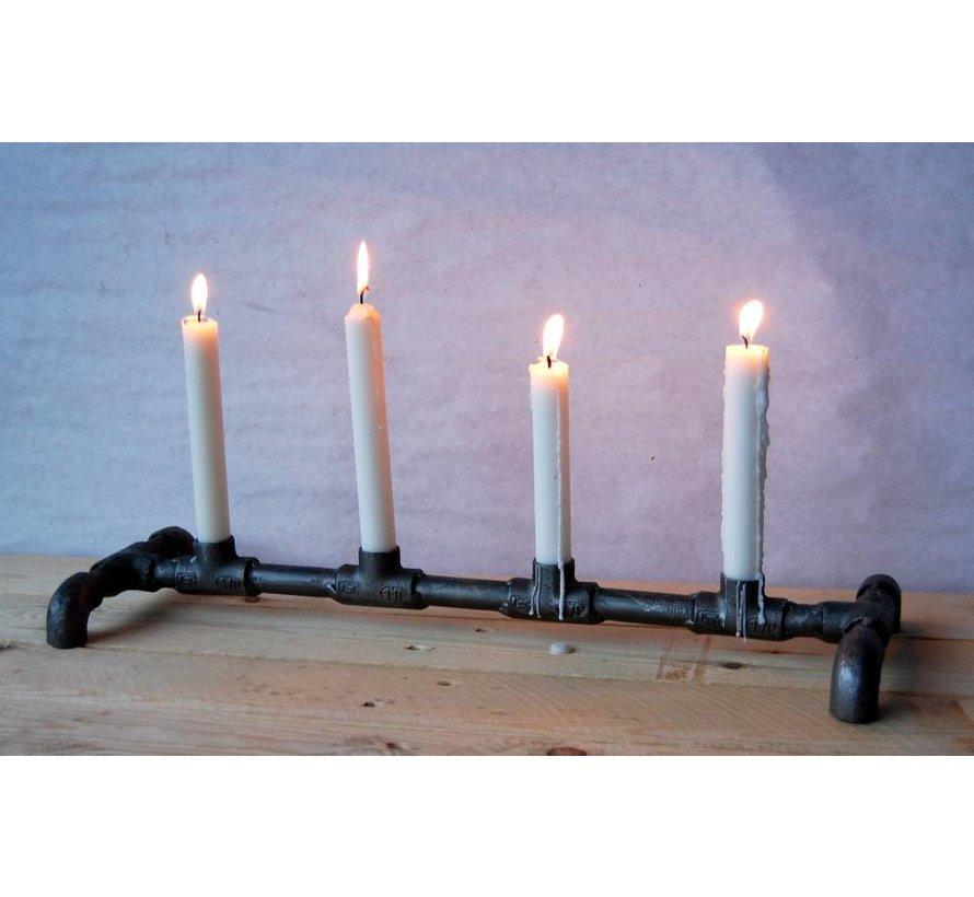 Kerzenständer aus Wasserrohren | Industrial Eisengrau