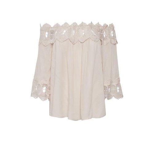 Cream Clothing Bluse   Bea Lace Blouse   Chalk