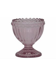 Chic Antique Eierbecher aus Glas | mit Perlenkante | Rosa