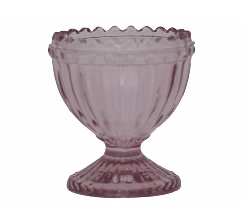 Chic Antique Eierbecher aus Glas   mit Perlenkante   Rosa