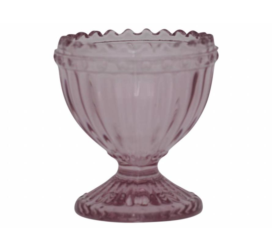 Eierbecher aus Glas | mit Perlenkante | Rosa