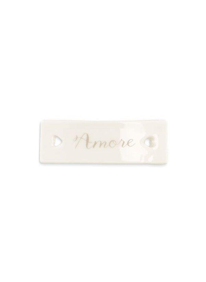Porzellan Etikette   Amore   Weiss