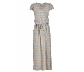 DEHA Kleid | LONG TEE DRESS | SAND SILVER STRIPES