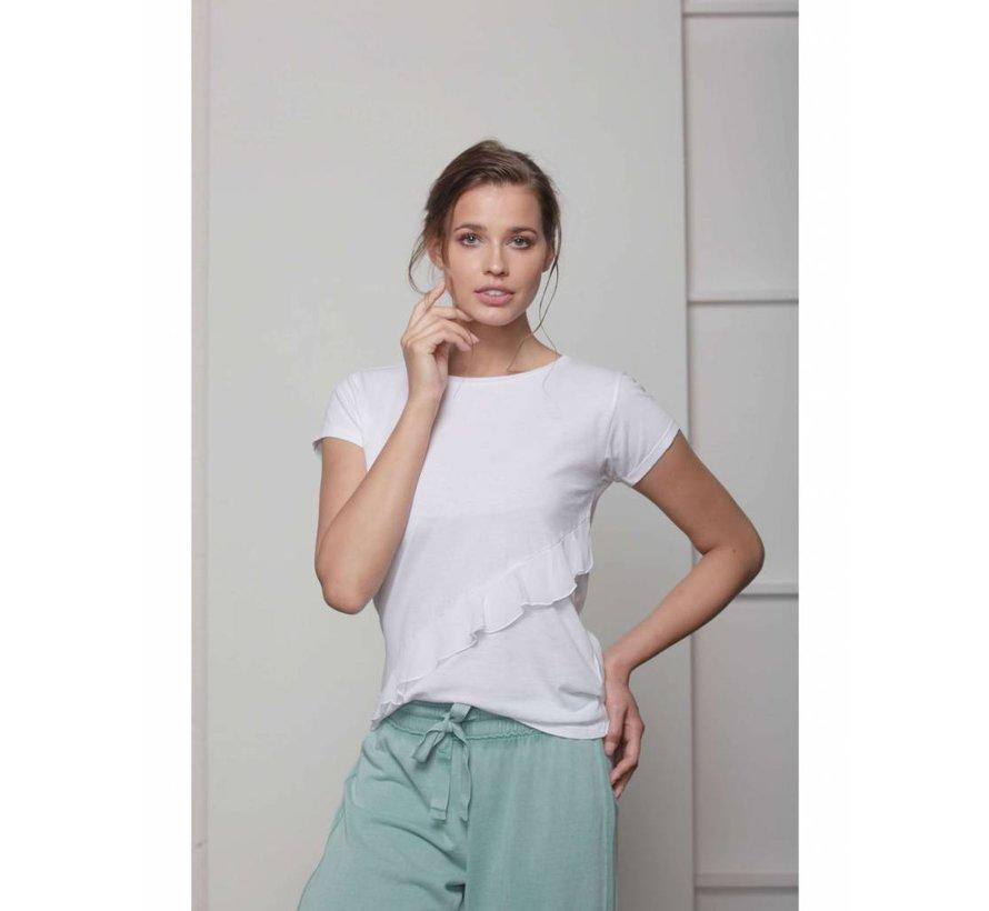 Shirt | RUFFLE T-SHIRT | WHITE