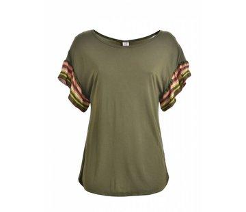DEHA Shirt |  RUFFLE SLEEVE T-SHIRT | OLIVE GREEN