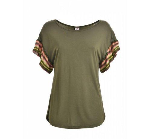 DEHA Shirt    RUFFLE SLEEVE T-SHIRT   OLIVE GREEN