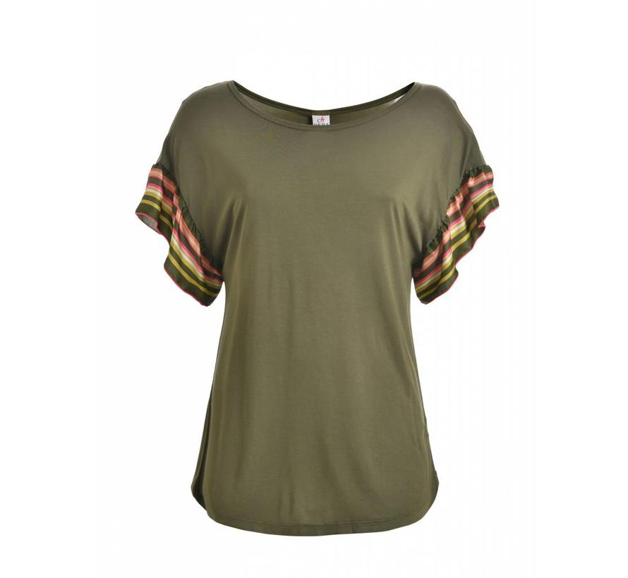 Shirt    RUFFLE SLEEVE T-SHIRT   OLIVE GREEN