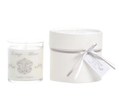 Amélie et Mélanie Duft Kerze 140gr | Linge blanc