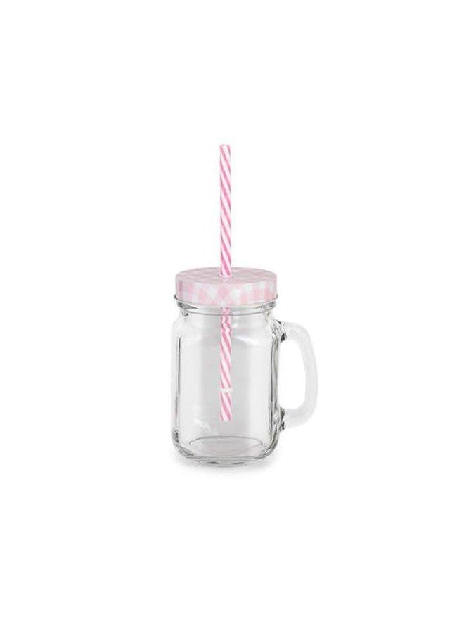 Trinkglas mit Deckel, Griff, Strohhalm - Rosa