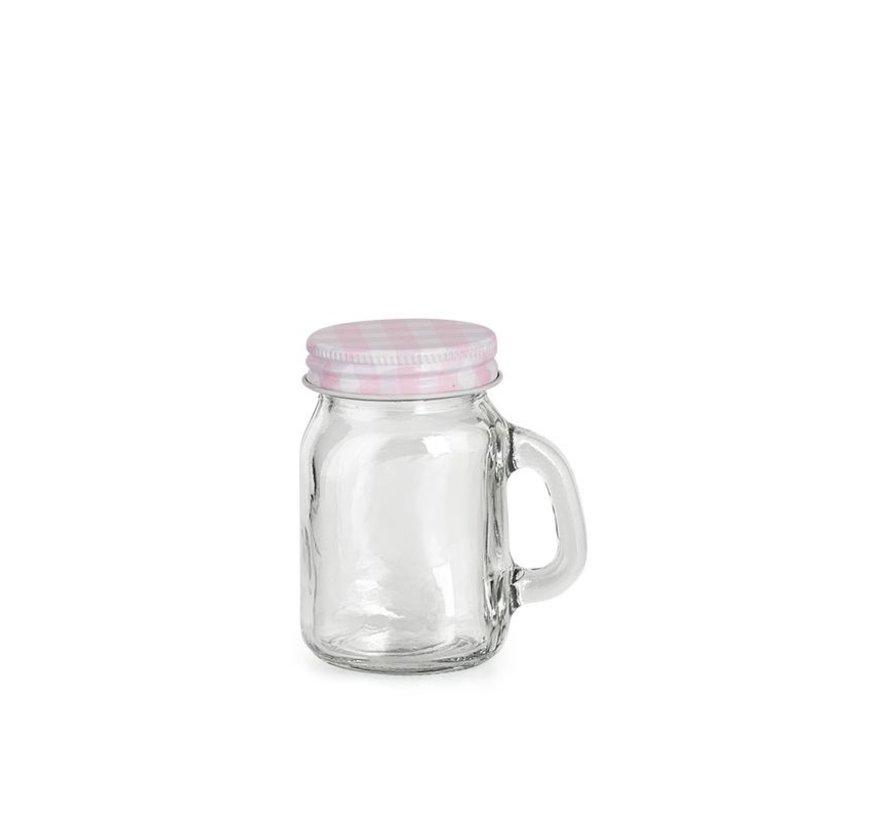 Glas mit Deckel und Griff | Rosa | Ø5x8cm