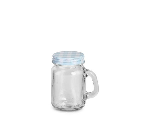 Glas mit Deckel und Griff | Hellblau | Ø5x8cm