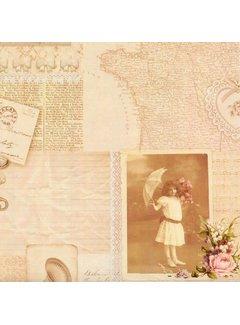 Clayre & Eef Geschenkpapier | Vintage Picture | 70x200cm