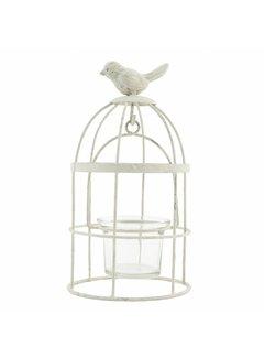 Clayre & Eef Teelichthalter | Vintage Vogelkäfig | Cremeweiss