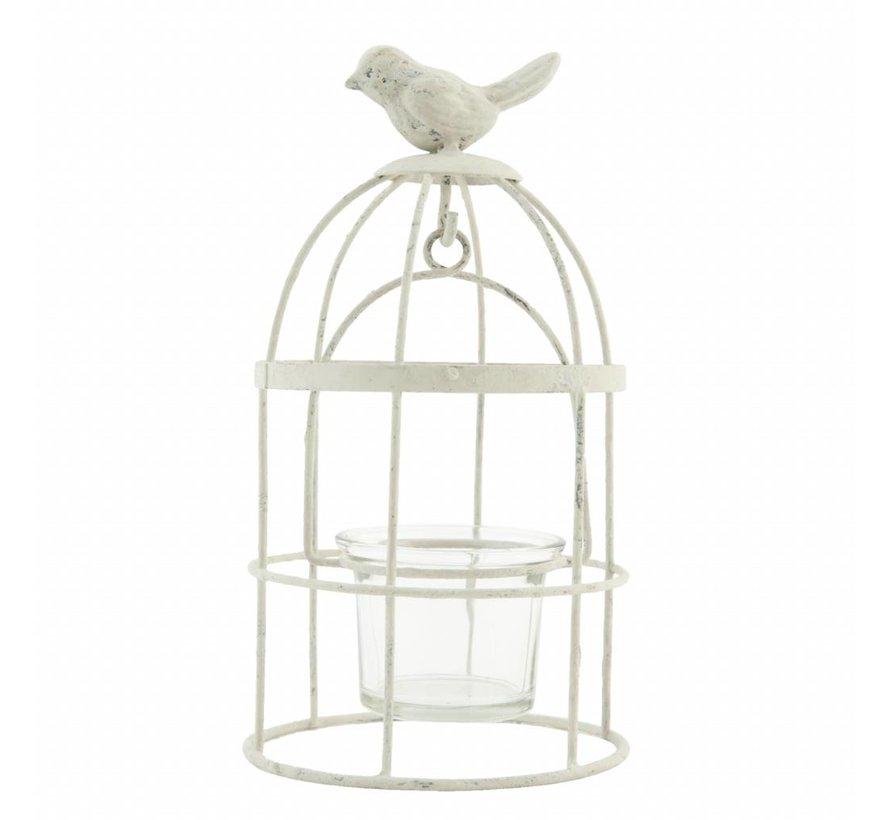 Teelichthalter | Vintage Vogelkäfig | Cremeweiss