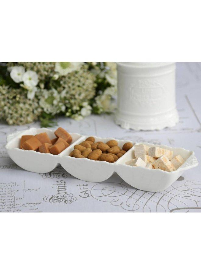 Snackschüssel Provence mit 3 Fächern - Porzellan Weiss