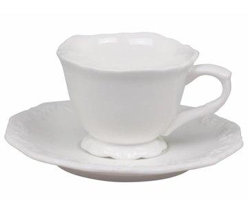 Chic Antique Espresso Tasse mit Unterteller | Provence | Weiss