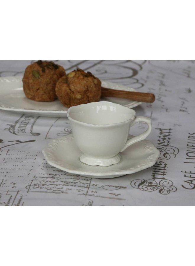 Espresso Tasse mit Unterteller Provence - Porzellan weiss