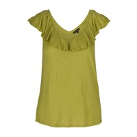 Shirt | Vicky Ruffle Top Uni Slub | Citronelle Yellow