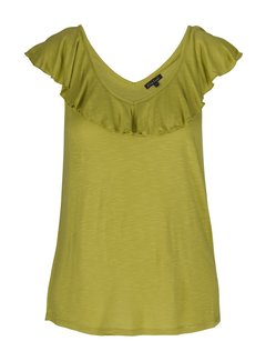 King Louie Shirt | Vicky Ruffle Top Uni Slub | Citronelle Yellow
