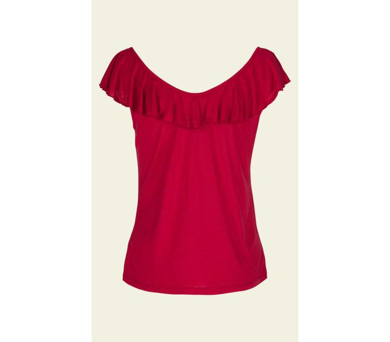 Shirt | Vicky Ruffle Top Uni Slub | Ruby Red