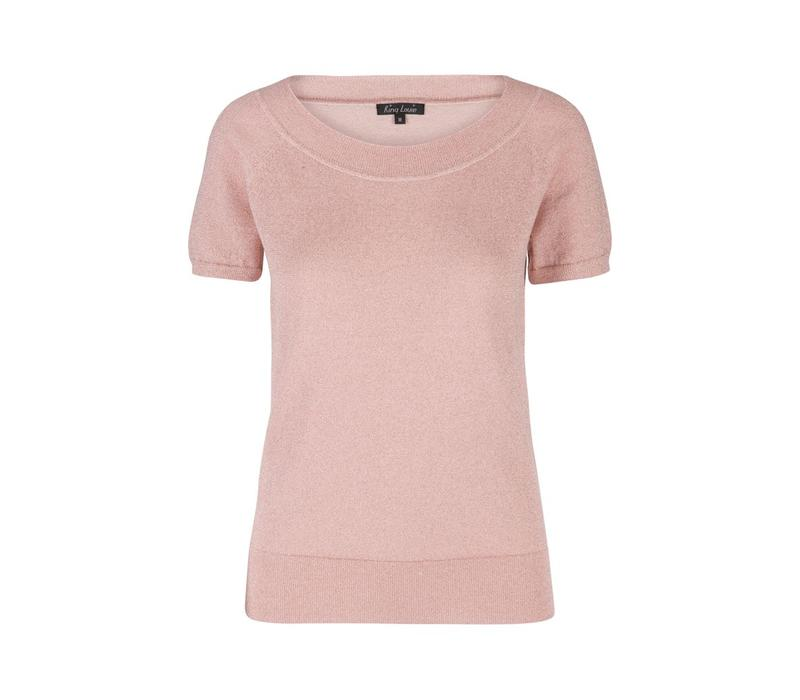 Shirt | Boatneck Top Lapis | Pale Pink