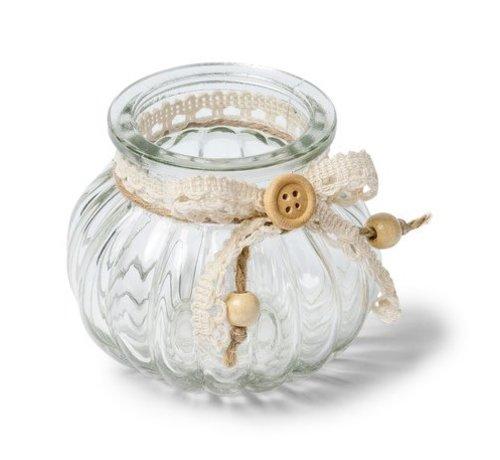 Teelichthalter mit Spitzenband | 6x8cm