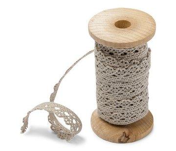 Spitzenband auf Holzspule | Taupe | 1cm x 5m