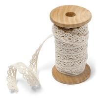 Spitzenband auf Holzspule | Beige | 1cm x 5m