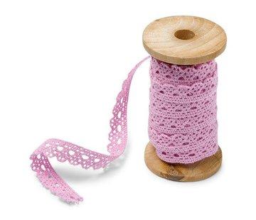 Spitzenband auf Holzspule | Rose | 1cm x 5m