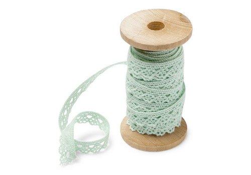 Spitzenband auf Holzspule | Mint | 1cm x 5m