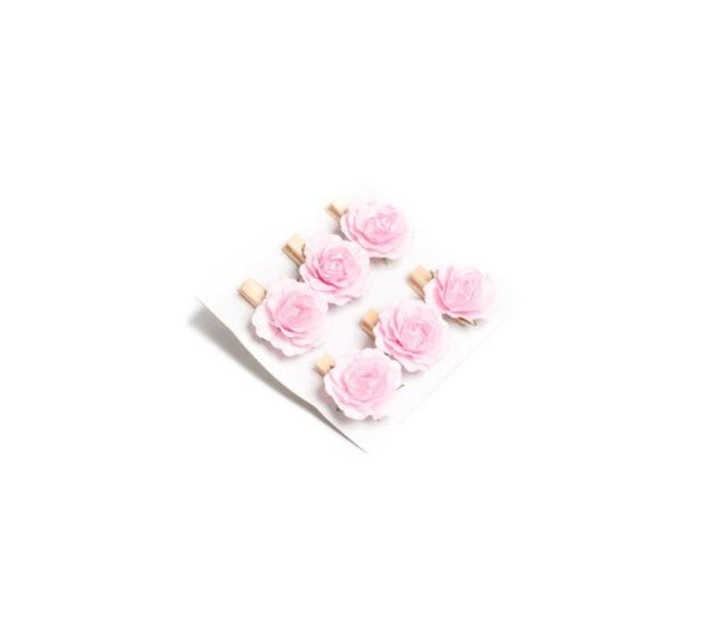 Rose 3.5cm auf Klämmerli | Rosa | 6er Pack