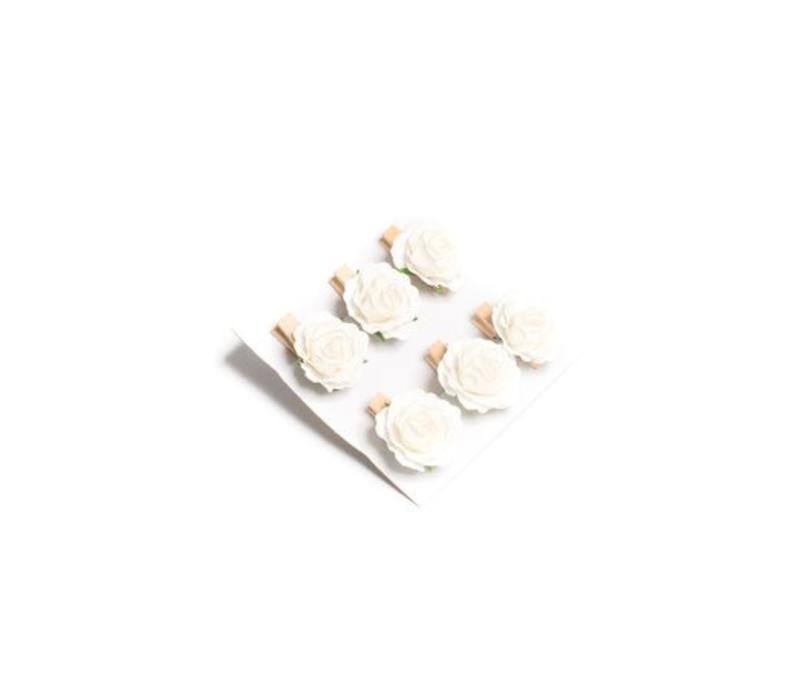 Rose 3.5cm auf Klämmerli | Beige | 6er Pack
