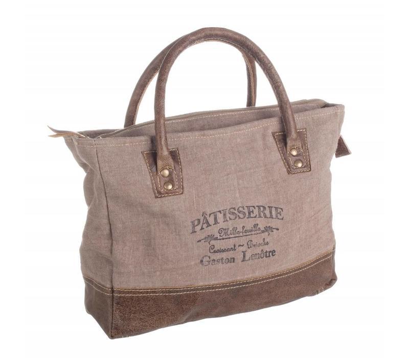 Shopping Bag | Tasche | Leder-Baumwolle | Braun