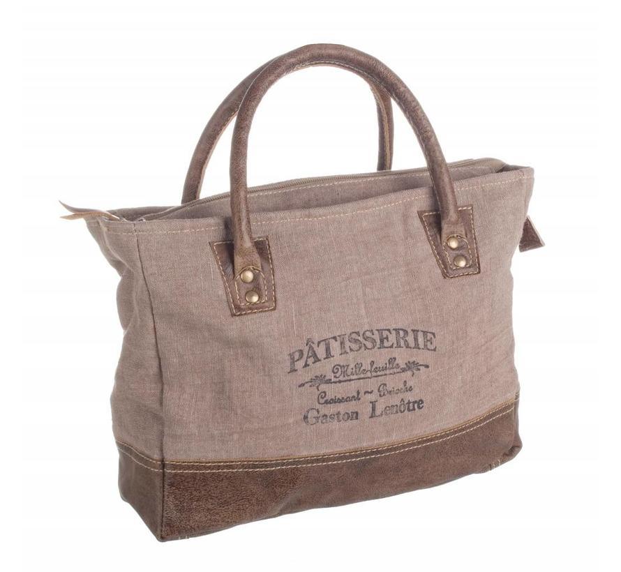 Shopping Bag   Tasche   Leder-Baumwolle   Braun