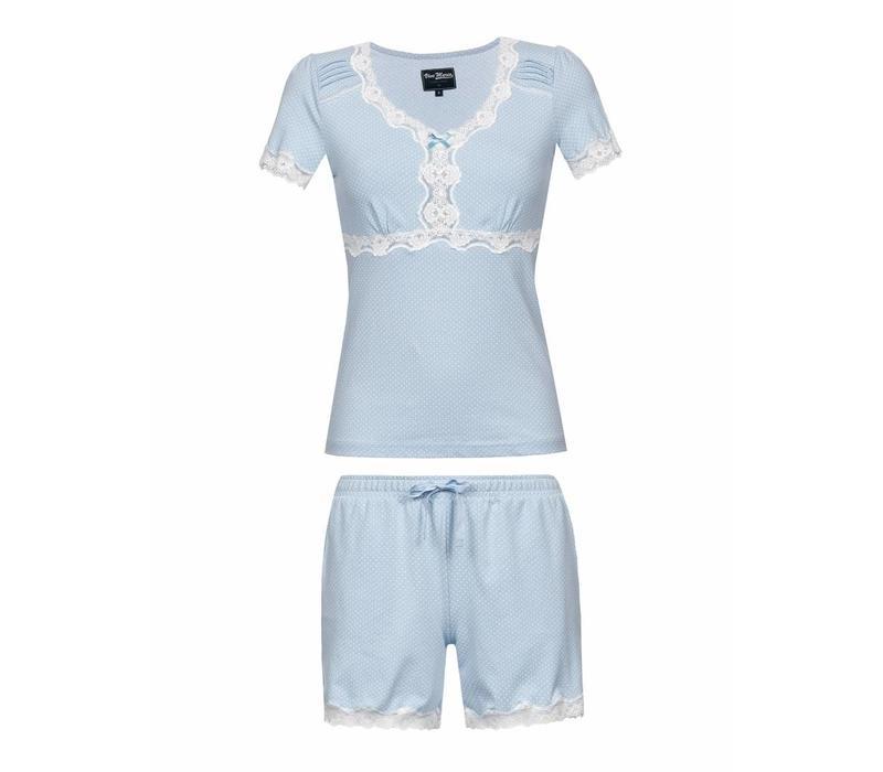 Pyjama | Dotty Pyjama Short | hellblau