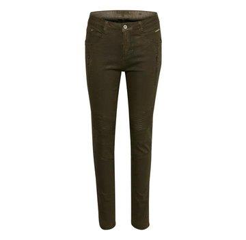 Cream Clothing Hose | Kimmy Coated Pant - Shapefit | Crocodile Green