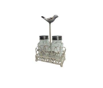 Salzstreuer und Pfefferstreuerhalter | Shabby Chic | Vogelmotiv