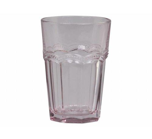 Chic Antique Trinkglas | Antoinette | mit Perlenkante | rosa