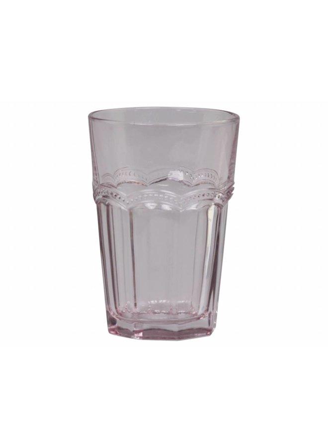 Trinkglas Antoinette mit Perlenkante - rosa