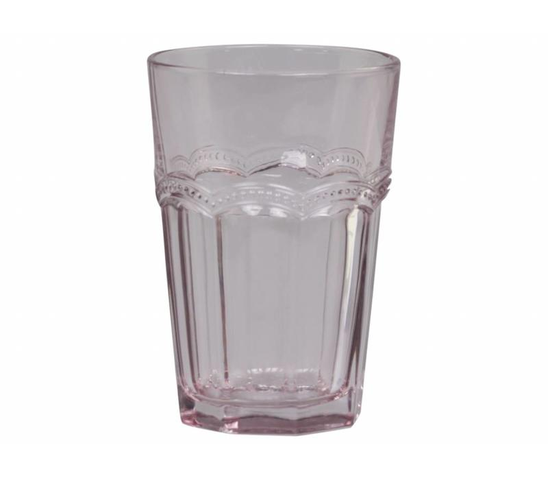 Trinkglas | Antoinette | mit Perlenkante | rosa