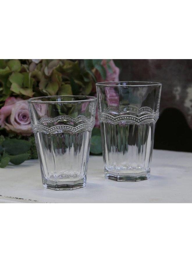 Trinkglas Antoinette mit Perlenkante - transparent