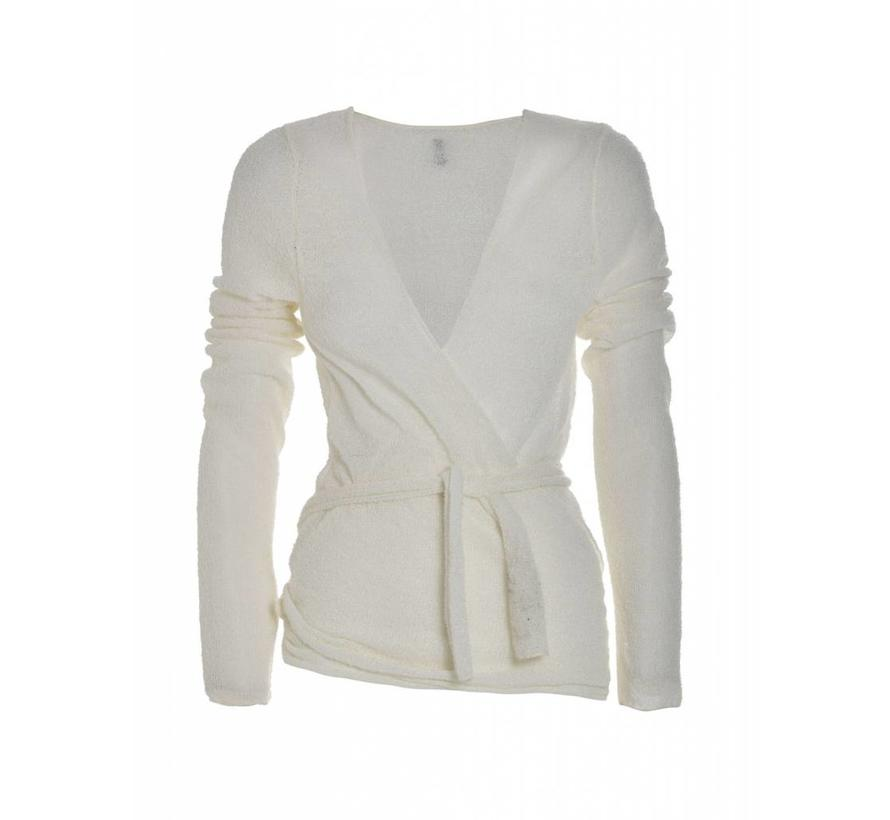 Wickel-Strickjacke aus Bouclewolle | Creme