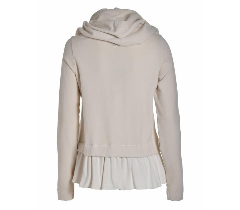 Sweatshirt mit Kaputze   Creme