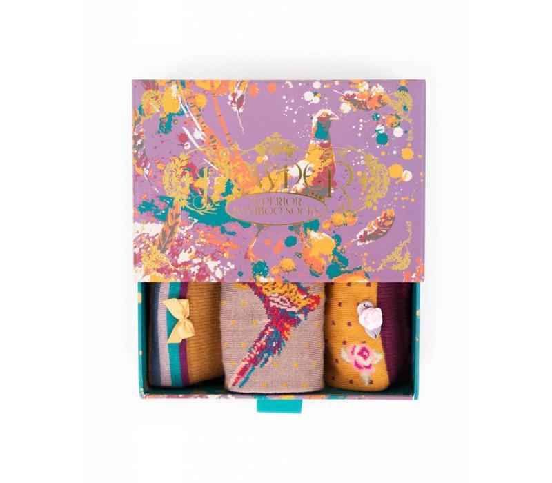 Damensocken | Geschenkbox Fasan | 3 Paar