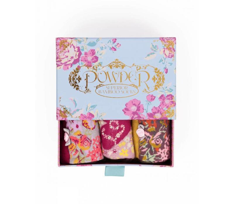 Damensocken   Geschenkbox Rose   3 Paar