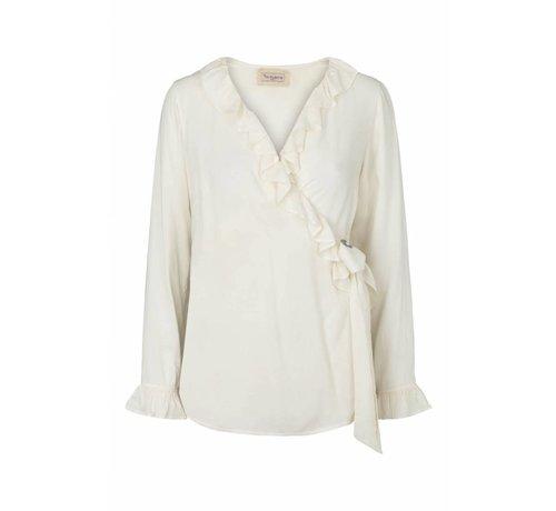 Tina Wodstrup Wickelbluse | Wrap shirt | Offwhite