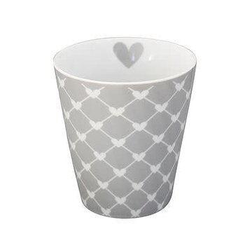 Krasilnikoff Tasse | Happy Mug | Diagonal Hearts grey