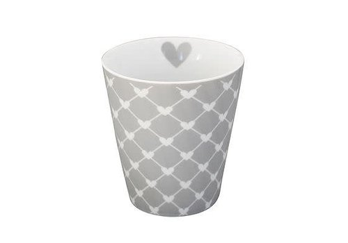 Krasilnikoff Tasse | Happy Mug | Diagonal Hearts grey