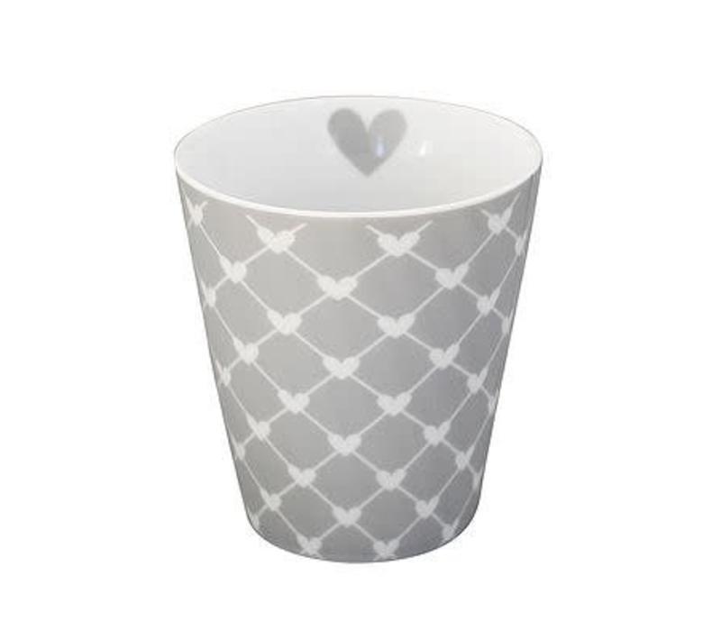 Tasse | Happy Mug | Diagonal Hearts grey