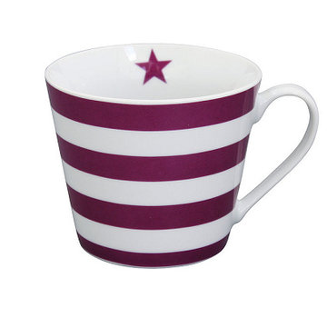 Krasilnikoff Tasse | Happy Cup | Striped Plum